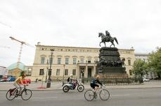 Berliners, bikes, horses, statue, Unter den Linden