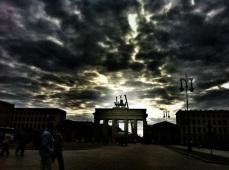 Berlin sky, Brandenburg Gate, Unter den Linden, Germany, tourism, weather, sun, rain, storm,