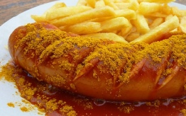 Currywurst, Berliner Currywurst, sausage, Berlin, food, hungry, buy, price, champagne, sauce, french fries, gourmet